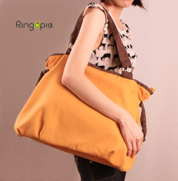 Sale-Ready To Ship- Ringopie Everyday Canvas Tote(Mustard)/purse/diaper/laptop/shoulder/bags/school/casual/handbags/totes/women/For Her-052