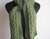 Sage Green Cable and Lace Slim Scarf