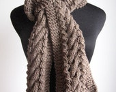 Taupe Hand Knit Scarf, Knit Mens Accessory, Heather Cable and Lace Taupe Scarf, Vegan Knits, Mens Scarf, Scarf Winter Scarf