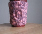 Knit Cup Cozy, Multicolour Lilac/Pink Cable Coffee Cup Cozy, Knit Mug Cozy, Stocking Stuffer, Mason Jar Cozy