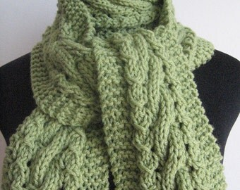 Hand Knit Scarf, The Stef Scarf, Fern Green Cable and Lace Scarf, Vegan Scarf, Green Knitted Scarf, Womens Accessories Winter Scarf
