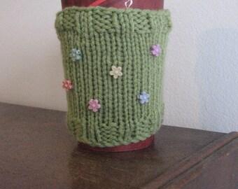 Mason Jar Cozy, Fern Green with Flower Buttons Knit Coffee Cup Cozy, Knit Coffee Sleeve, Knit Mug Cozy