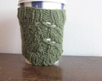 Double Rose Leaf Sage Green Knit Coffee Cup Cozy Knit Coffee Sleeve Knitted Cup Cozy Mason Jar Travel Mug