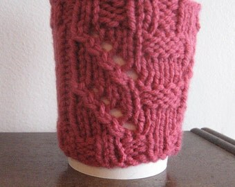 Knit Coffee Cup Cozy, Rich Pink Totem Pole Coffee Cup Sleeve, Pink Mason Jar Sleeve, Valentines Day
