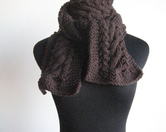 Dark Brown Knit Scarf Espresso Cable and Lace Scarf, Knit Scarf, Mens Scarf, The Stef Scarf, Womens Accessories, Winter Scarf