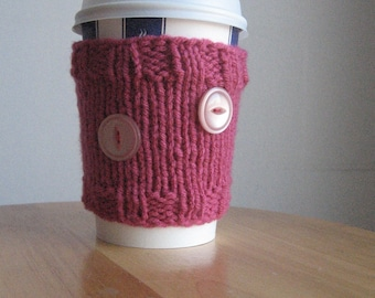 Knit Cup Cozy Rich Pink with 2 Buttons Knit Coffee Cup Cozy Knit Coffee Sleeve Pink Mason Jar Cozy