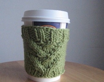 Knit Cup Cozy Fern Green Broken Cable Knit Coffee Cup Cozy Vegan Knit Coffee Sleeve