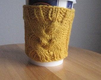 Sunflower Yellow Up Plait Coffee Cup Cozy, Yellow Knitted Cozy, Knit Mason Jar Cozy,Coffee Cozy, Travel Mug Cozy