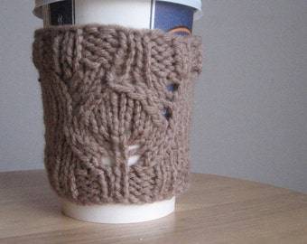 Soft Taupe Candlelight Knit Coffee Cup Cozy, Taupe Knit Coffee Sleeve, Knit Mason Jar Cozy, Stocking Stuffer