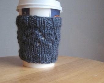 Blue Denim Eyelets Knit Coffee Cup Cozy, Coffee Cozy, Knit Coffee Sleeve, Knit Mug Cozy, Blue Cup Cozy, Blue Coffee Sleeve