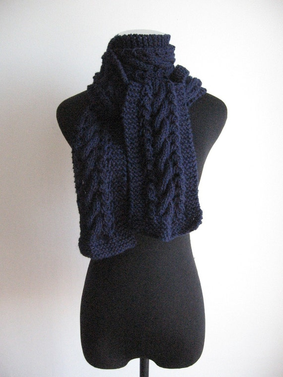 Navy Cable and Lace Vegan Scarf