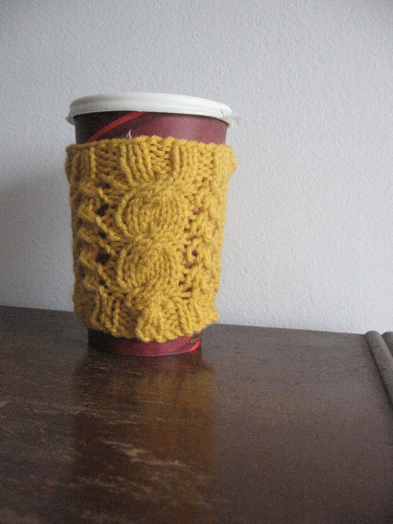 Yellow Cable and Lace Knit Coffee Cup Cozy Vegan Knits Knit Cup Cozy Yellow Knit Coffee Sleeve