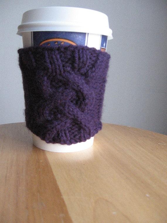 Purple Flirtation Cable Coffee Cup Cozy Purple Coffee Cozy Coffee Cup Sleeve Knit Cup Cozy