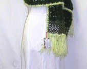 Ladies Soft Green Autumn Shawl or Scarf, Ladies Fall Shawl, Ladies Fall Scarf, Green Fall Shawl, Green Fall Scarf