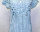 Gorgeous Ladies Blue Pinwheel Top, Ladies Dressy Blue Top, Blue Summer Top, Blue Cotton Crochet Top