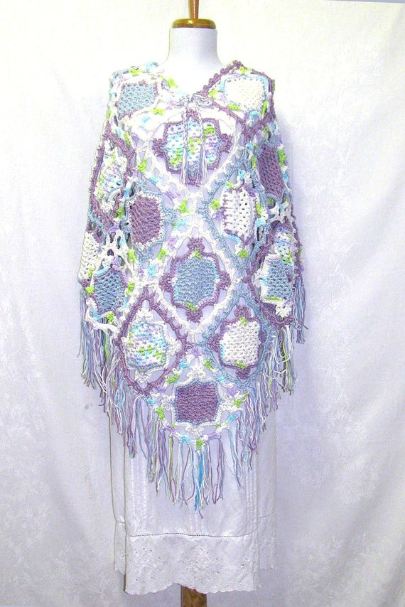 Ladies Blue Poncho, Ladies Purple Poncho, Blue Purple & White Poncho, Ladies Medium - 1x Poncho, Ladies Large Blue Poncho, Soft Blue Poncho