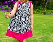 """SALE - """"Elegant Ornaments"""" Damask & Hot Pink Pillowcase Dress - Girls - Sundress - Birthday - Party - Special Occasion - Sleeveless - Gift"""