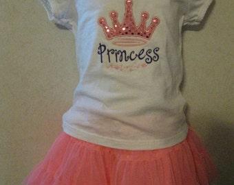 Pink Sequin Glitter Princess Crown Purple Birthday Personalized Shirt Onesie