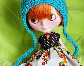 Gnome Helmet for Blythe - Crochet Pixie Hat - Turquoise Blue