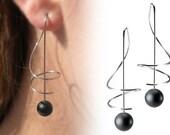 Taormina Obsidian Drop Earrings Stainless Steel Wire Music Key