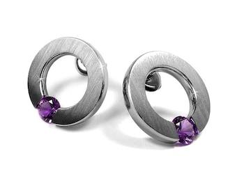 Amethyst Stud Post Tension Set Flat Circle Earrings in Stainless Steel