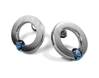Blue Topaz Stud Post Tension Set Circle Flat Earrings Stainless Steel