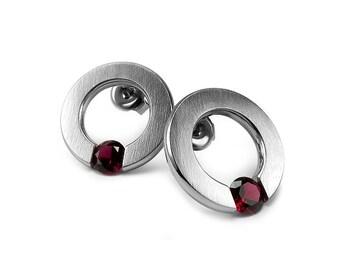 Ganet Stud Post Tension Set Earrings Stainless Steel