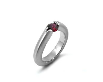 Garnet Ring High Tension Set Mounting in Brushed Stainless Steel