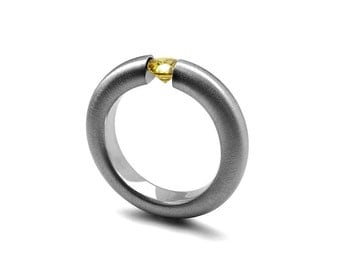 Yellow Topaz Tension Set Ring Brushed Stainless Steel
