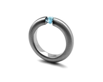 Blue Topaz Tension Set Ring Brushed Stainless Steel