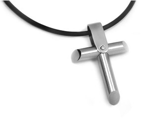 Mens Cross Necklace Modern Stainless Steel Men's Jewelry