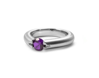 Amethyst Tension Set Ring in Stainless Steel