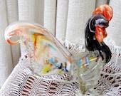 Vintage Rooster Murano Glass Bird Figurine Hand Blown Art Glass Sculpture 1960s