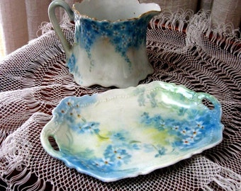 Vintage Creamer and Tray Austrian Porcelain Floral Aqua White Yellow 1900s