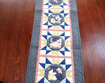 Vintage Quilt Table Runner Star Pattern Hand Quilted Blue Pink Yellow