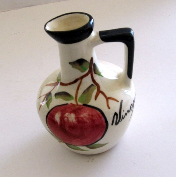 Vintage Vinegar Cruet USA Art Pottery Apple Red Black