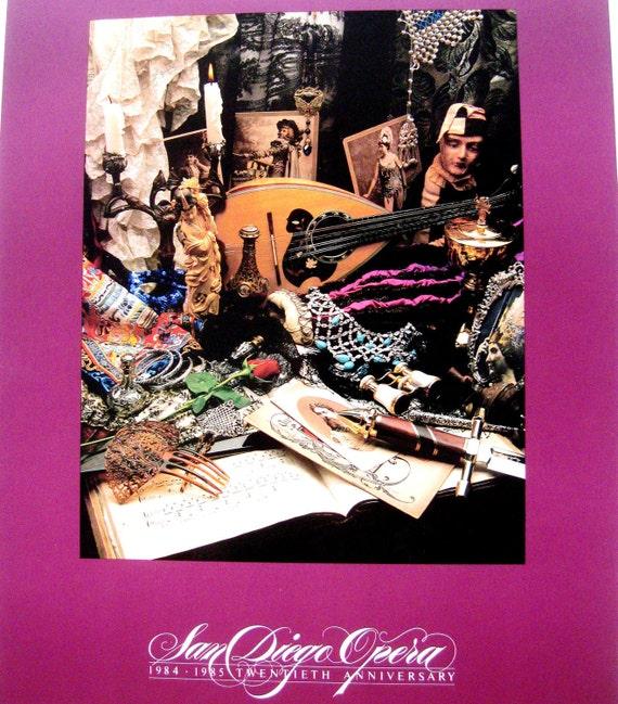 Vintage Poster Julius Friedman San Diego Opera Art Photograph Graphic Design Purple 1980s