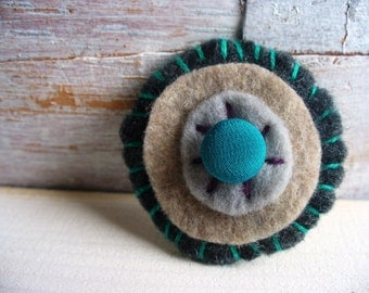 Felt brooch Holiday Gift Turquoise and Grey handmade