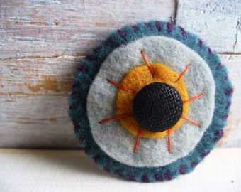 Sunflower Brooch Felt Grey and Yellow Primitive Handstiched