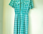 EXTRA SALE. Aqua plaid print day dress with gold buttons. medium. large.
