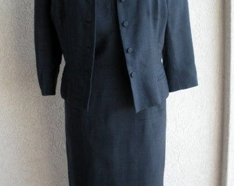 Oh So Chic Vintage 1960s BARON PETERS Matching Navy Dress and Jacket - L
