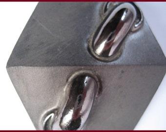 Vintage 1980s black clay buckle - handmade Fahrenheit belt buckle - Fashion accessory