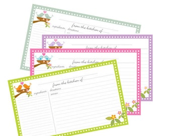Bird Nest Recipe Cards 3x5 Lined  no 800 Instant Download