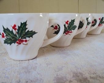 Vintage 50's Christmas Transferware Cups