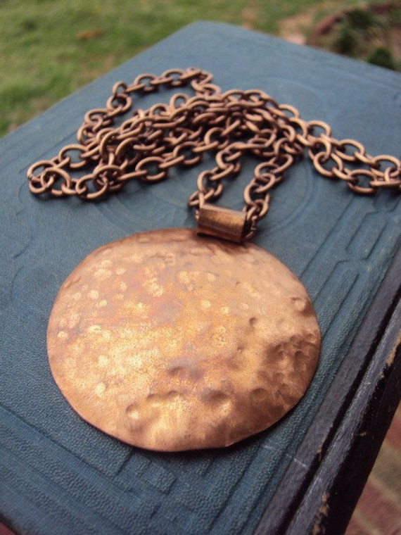 Vintage hammered Copper Pendant and Long Chain