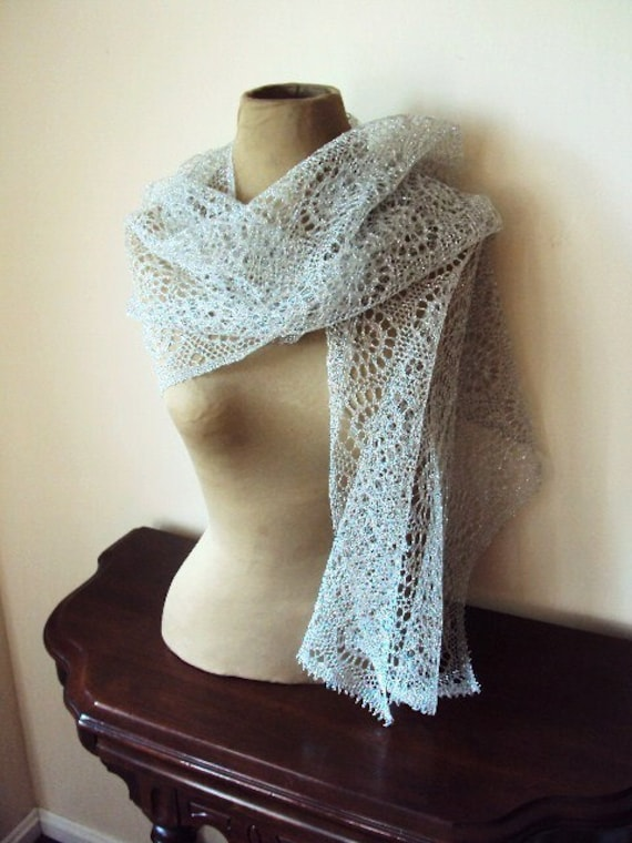 Vintage Crocheted Lace Shawl Wrap in Metallic silver