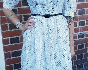 ON SALE Vintage 1970s White Polka Dot Day Dress Dress XS/S