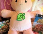 Animal Crossing Item Leaf pixel perler necklace