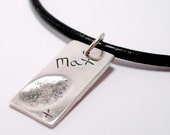 Men's Fingerprint Jewelry, Silver Fingerprint Pendant Leather Necklace, Personalized Men's Jewelry Gift for Dad or Grandpa, Leather Jewelry