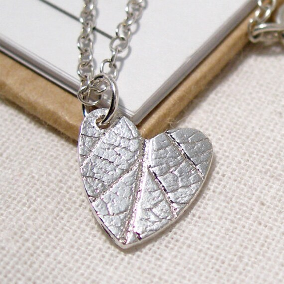 Tiny Silver Leaf Necklace, Textured Sterling Silver Heart Charm Leaf Pendant, Natural Organic Texture, Bridesmaid Necklace, Bride Necklace,